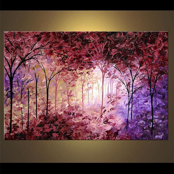 Lavender Landscape Blooming Tree Painting Original textured palette knife Acrylic painting by Osnat - MADE-TO-ORDER