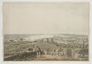 James Taylor view of Sydney 1823 with uniforms etc.