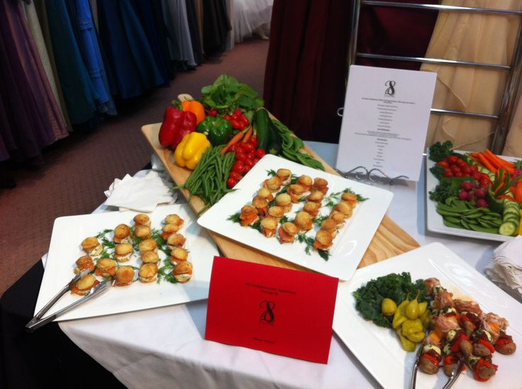 A array of canapés for sampling at Rainbow Bridals midnight madness