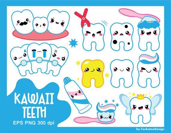 50% OFF SALE, Kawaii clipart, kawaii tooth clipart, kawaii dentist clipart, tooth fairy clipart, braces clipart, cavity, commercial use