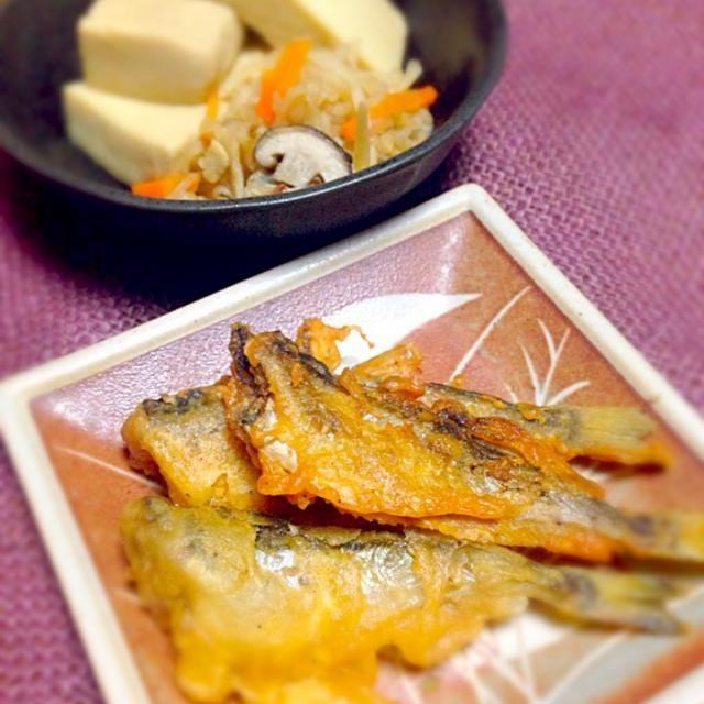 無償に和が食べたくて高野豆腐作りました(≧∇≦)ハタハタもグラム30円台で安価でビックリ!母はハタハタの飯寿司が好きなんだよな〜(≧∇≦) - 5件のもぐもぐ - 高野豆腐と切り干し大根の煮物      ハタハタの唐揚げ by mayumikumaDRz