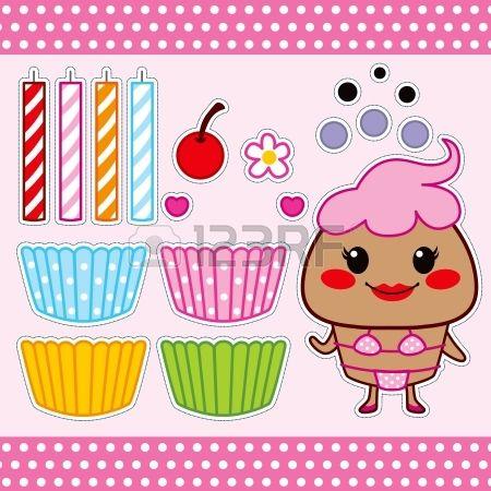 Kleurrijke zoete cupcake mode papieren pop set collectie photo
