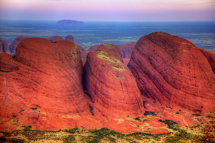Kata Tjuta (The Olgas) with Uluru (Ayers Rock) in the background.  One of my favourite places on the planet in my own backyard.  This place is magical.