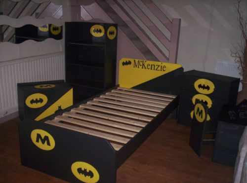 BATMAN Themed Bedroom Set,3ft Bed Frame,Bookcase,Toy Box Desk N Chair