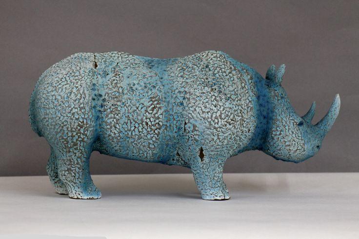 Rhino sculpture, clay and glaze