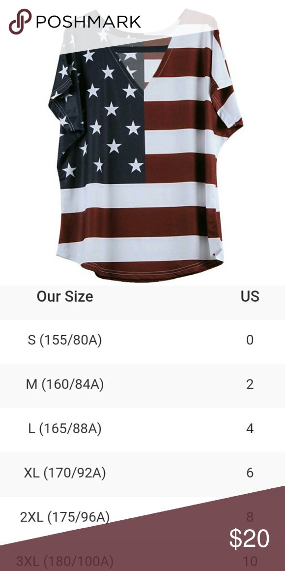 """V-Neck Choker American Flag Shirt Stylish short sleeve American flag top.  Please refer to size chart for appropriate selection.   XXL measurements:   Length 25""""   Bust 22"""" armpit to armpit   Waist 21""""  XXXL measurements:   Length: 26""""   Bust 23"""" armpit to armpit   Waist 22""""   Material:  Cotton/Rayon Blend Tops"""