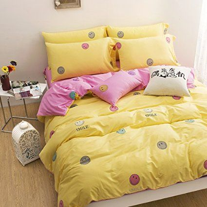 Etonnant Amazon.com   Sisbay Smiley Face Yellow Pink Bedding, Girls Fresh Queen Size  Duvet