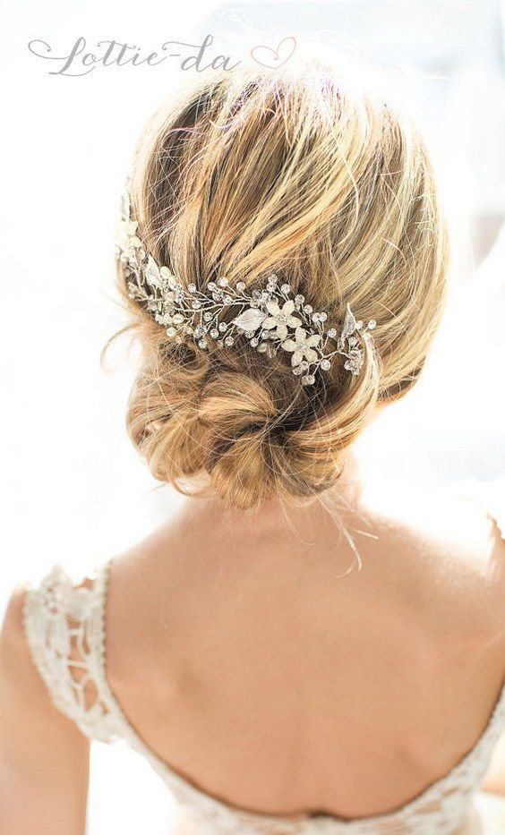 Wedding Updo with Boho Silver Halo Hair Wrap / http://www.deerpearlflowers.com/wedding-hairstyles-and-bridal-wedding-accessories/