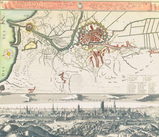 Johann+Baptist+Homann+-+Danzig,+Stadtplan+u.+-ansicht+1734/39