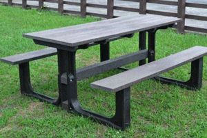 Medium rectangular picnic table (grey)