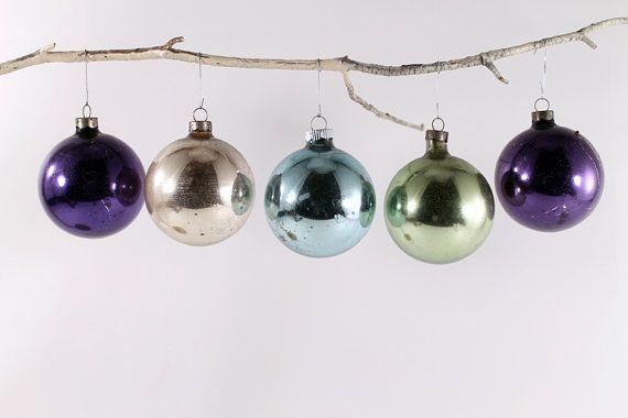 Vintage Jewel Toned Purple Gold Aqua Glass Christmas by Circa810, $16.50