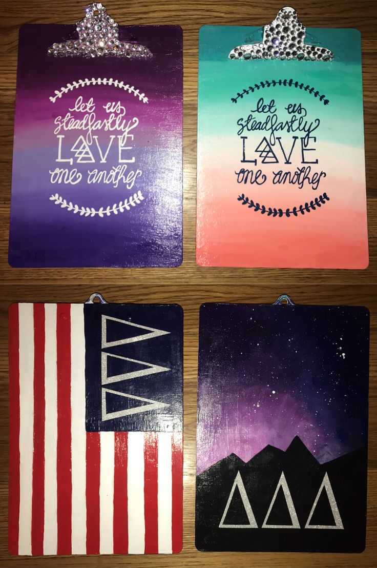 tri delta clip boards   twin clipboards   delta delta delta   american flag   let us steadfastly love one another