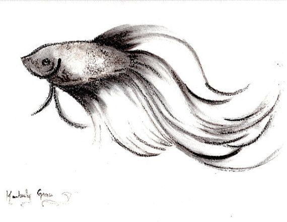 Shadow betta charcoal drawing of betta fish by redmothshop for Drawings of fish