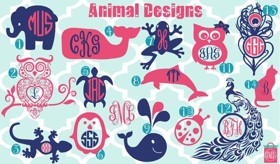 New Designs  Monogrammed Animal Vinyl Decals  by iluvmonograms2