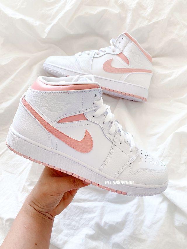 Nike air jordan 1 mid custom baby pastel pink   THE CUSTOM ...