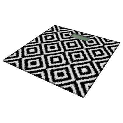 Retro Black White Ikat Diamond Squares Pattern Bathroom Scale - patterns pattern special unique design gift idea diy