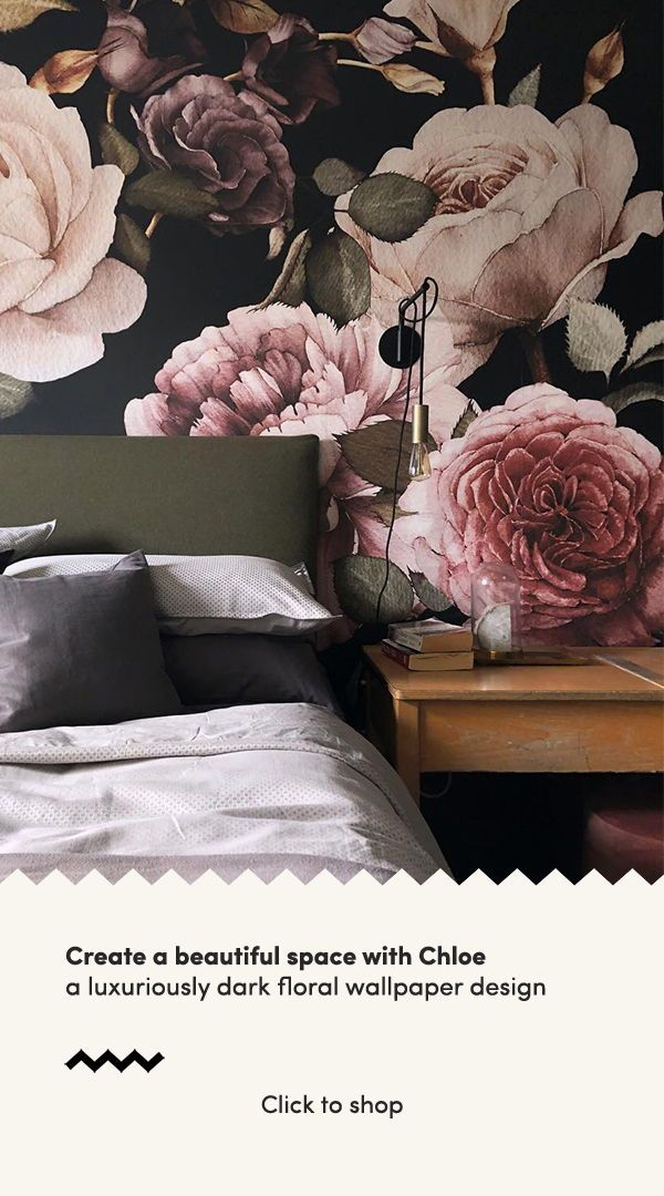 Purple And Pink Dark Floral Wall Mural Muralswallpaper Floral Bedroom Living Room Paint Design Master Bedroom Wallpaper