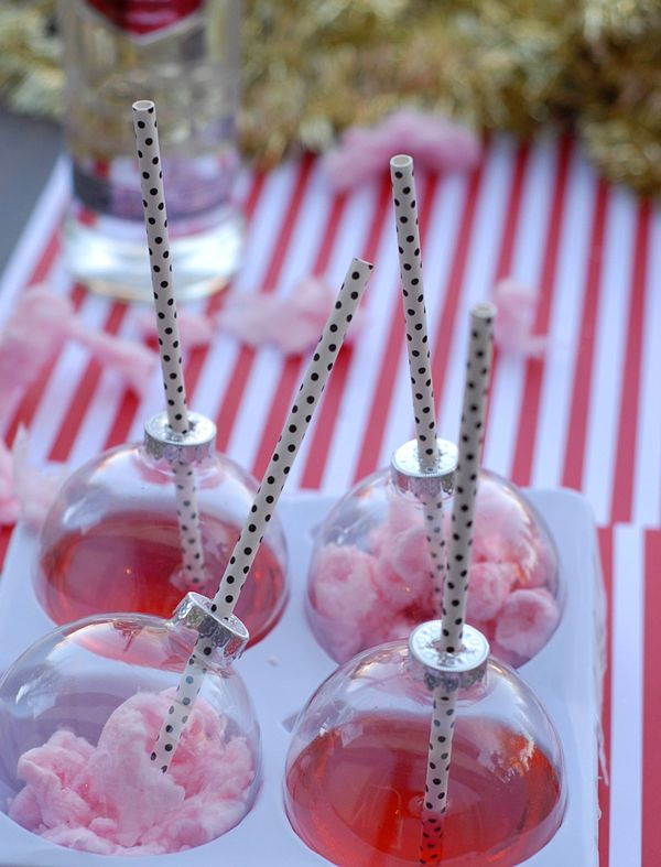 Holiday Office Party Hacks | Cotton Candy Ornament Shots