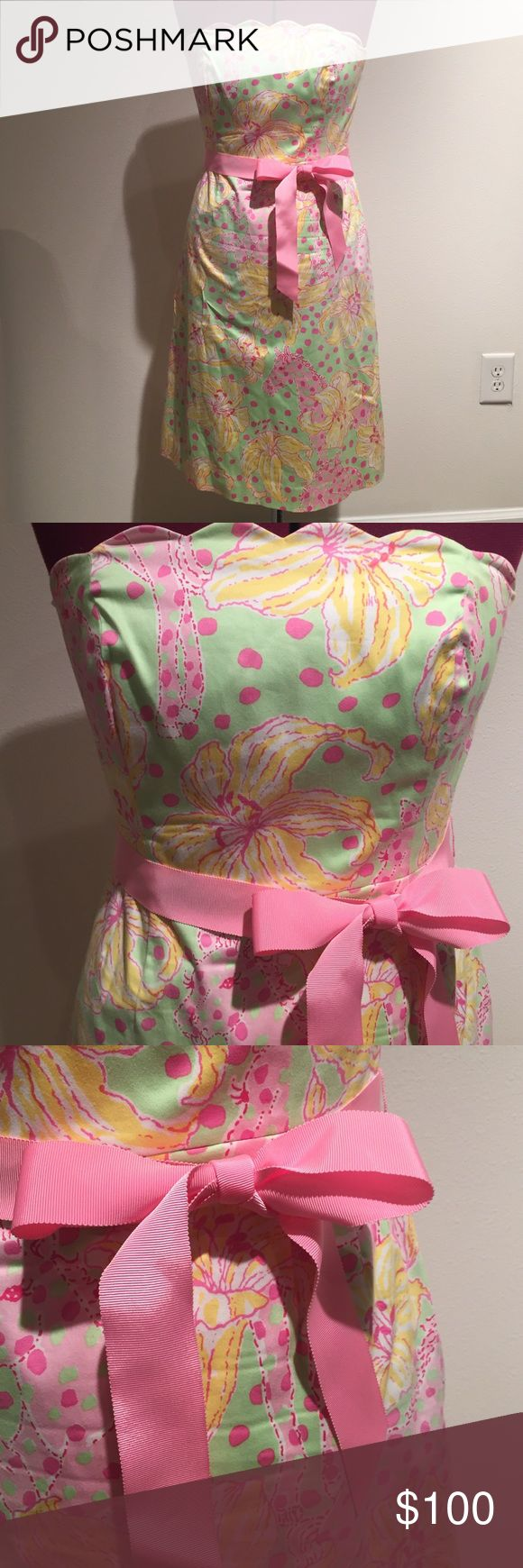 Lilly Pulitzer Fillies for Lillies Dress Fillies for Lillies print dress with scallop top and pink ribbon.  EUC! Lilly Pulitzer Dresses Strapless