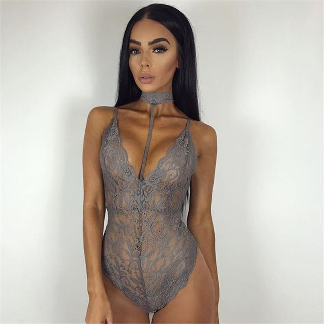 Price: US $6.10   Gray Lace Halter Choker Bodysuit Womens 2017 See Through Summer Mesh Hollow Bodycon Rompers Jumpsuits