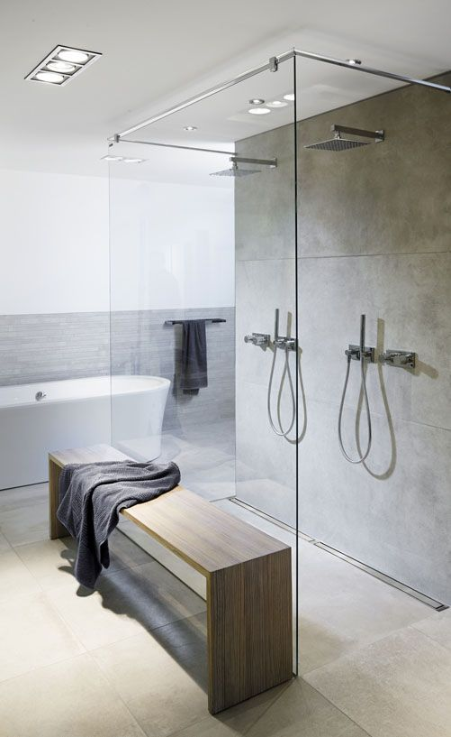Bathroom with a costumised modular line drain system. Shower with linear floor drain in solid brushed stainless steel. unidrain®: Modul 1100 #bathroom #badeværelse #nordic #design #inspirational #module1100 #wood #materials #largeshowerarea #shower #showerscreen