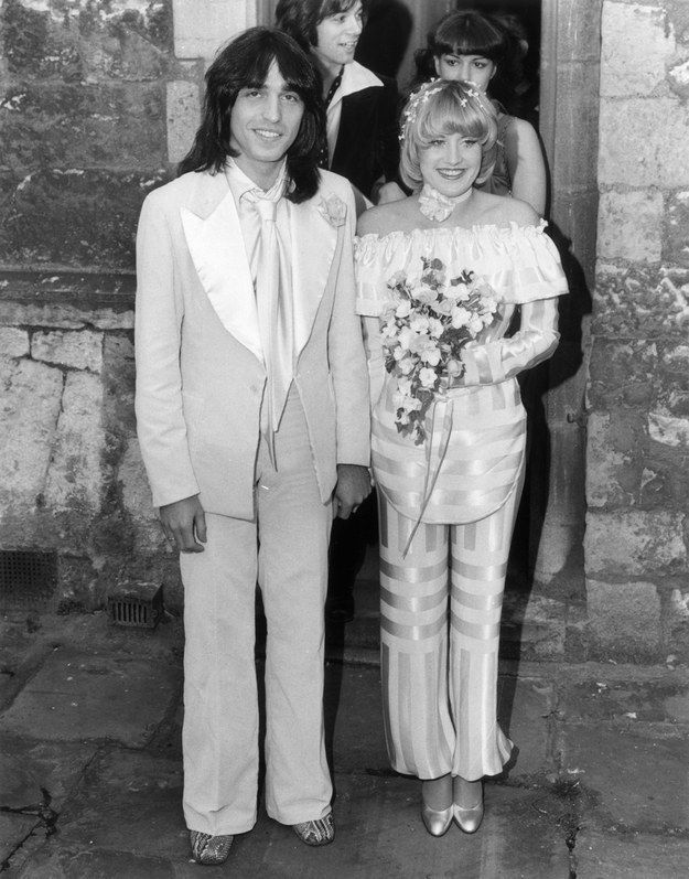 Lorna Luft and Jake Hooker, 1977. Lorna Luft is Liza Minelli's sister and also a very snazzy pantsuit wearer. | 41 Insanely Cool Vintage Celebrity Wedding Photos