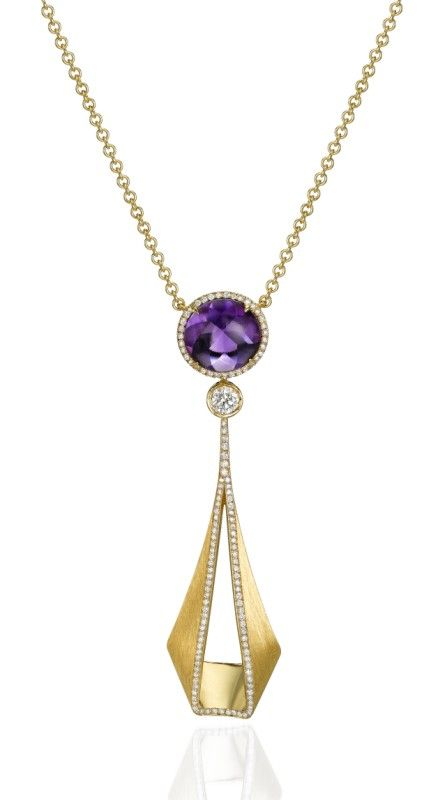 "From ""Pliage"" collection, a tie-shaped necklace in 18k polished and matte yellow Gold, set with Diamonds, adorned with Amethyst . Price: $ 4,070 USD -  Padani Jewelry-"