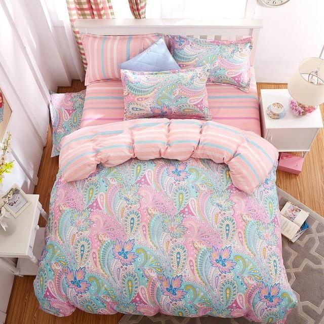 bedding set 5 size Green Spirit bedding set duvet cover set Korean bed sheet +duvet cover +pillowcase pink bed cover bed linen