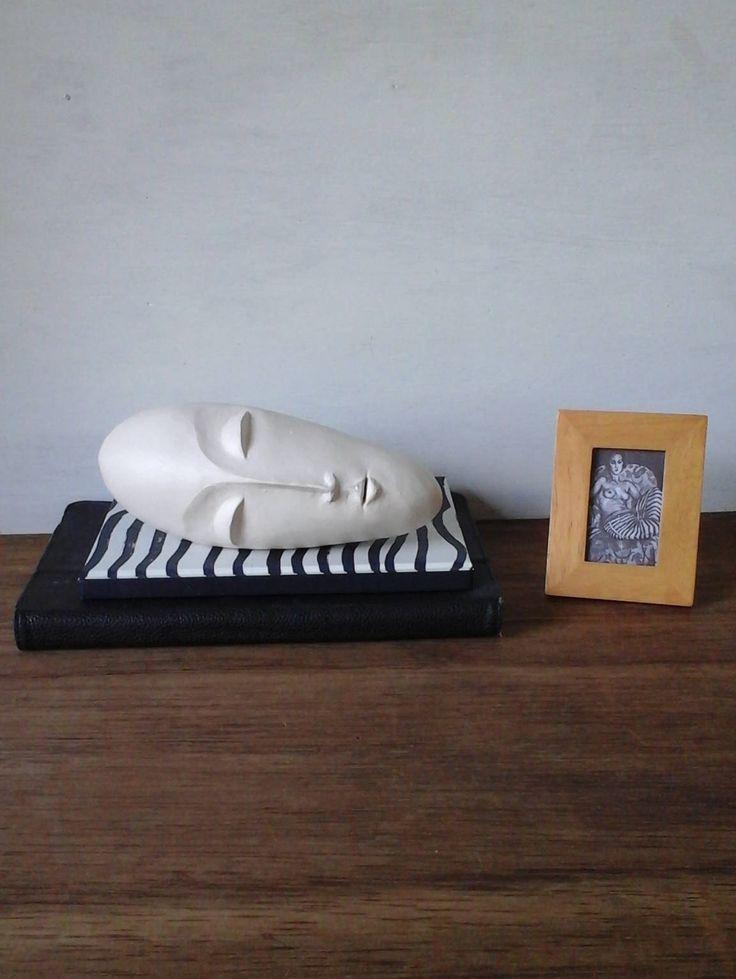 White modern sculpture head, ceramic face, white modern art, 3d head, Brancusi style sculpture, white abstract art gift for her, zen gift by LouiseFultonStudio on Etsy