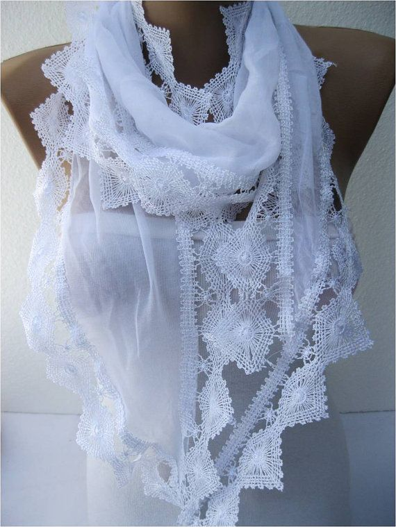 Big SALE 9.90 USD White scarf women scarves  Lace by MebaDesign, $9.90