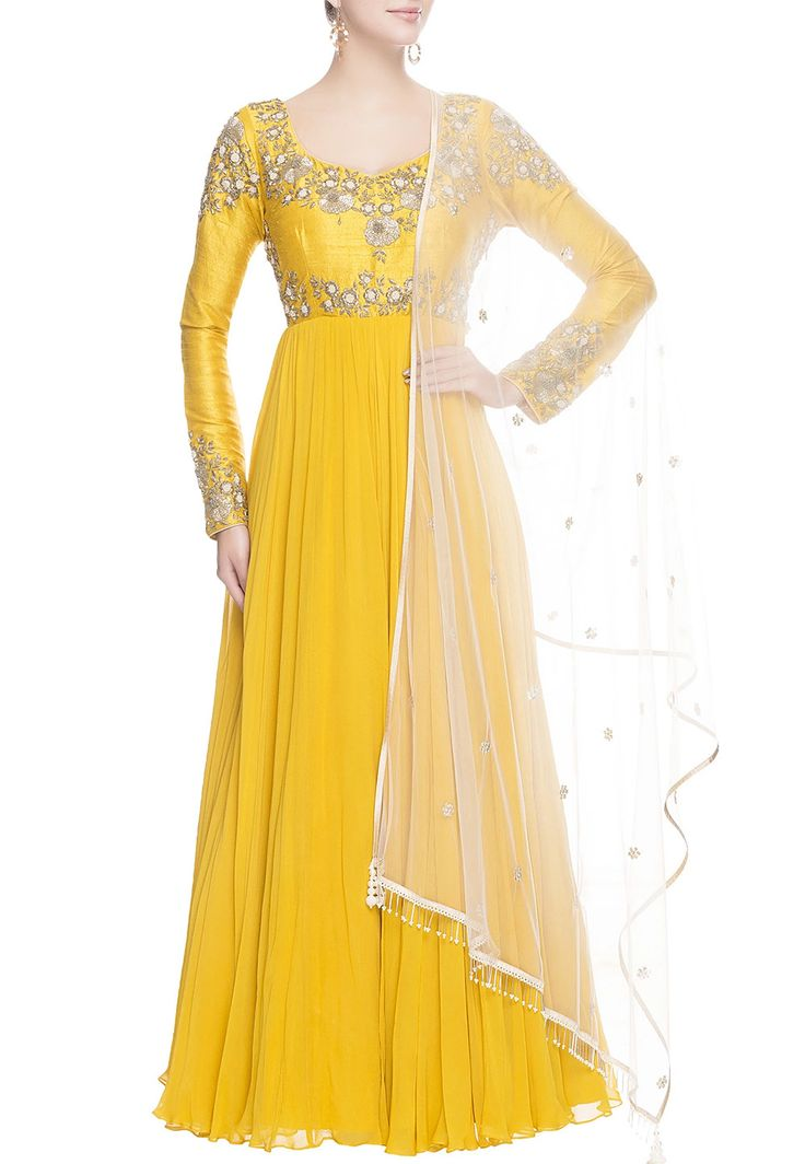 Faux Georgette and Raw Silk Abaya Style Suit in Yellow This Readymade Hand Embroidered Prepossessing attire is Enhanced with Zari, Dabka and Beads Work and is Crafted in Sweetheart Neck and Full Sleeve Available with a Shantoon Churidar and a Net Dupatta in Off White The Lengths of the Kameez and Bottom are 54 and 48 inches respectively Do note: Accessories shown in the image are for presentation purposes only.(Slight variation in actual color vs. image is possible).