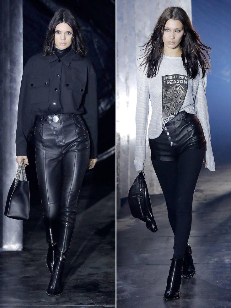Alexander Wang zeigte gewohnt düstere Looks, die er unter anderem von Kendall Jenner und Bella Hadid präsentieren ließ.