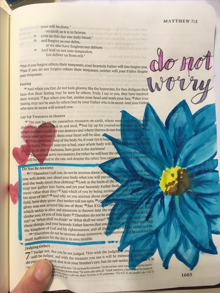 Bible journaling not of Matthew 6:25-34. Don't worry, just look at the beauty of the flowers in the field. God loves us way more than them so He'll provide as He does for the flowers.