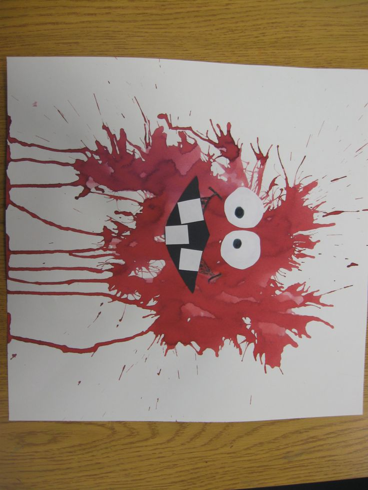 Blow paint Monster, Really fun lesson that teaches a new way to paint without a brush, Use your breath to move the paint across the paper. Add fun eyes and mouth and Wow, what a great monster