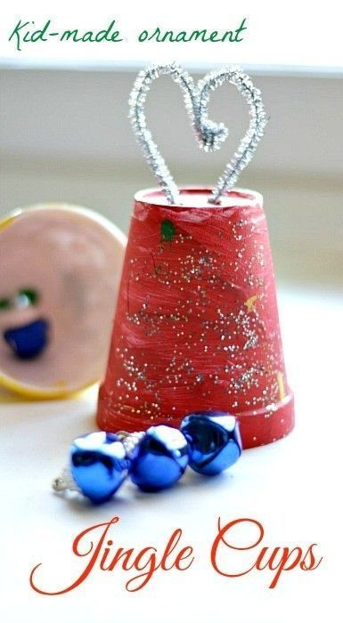 Christmas Crafts for Kids : Making ornaments using bells and cups. Easy up cycled ornament kids can make.