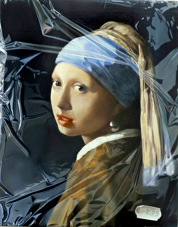 Tjalf Sparnaay painting: Girl with a Pearl Earring in Plastic - 75 x 60 cm