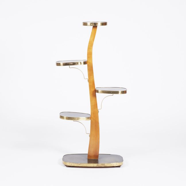 Wooden stand for flowers. Black shelves - the surface of Formica. Metal parts made of brass.