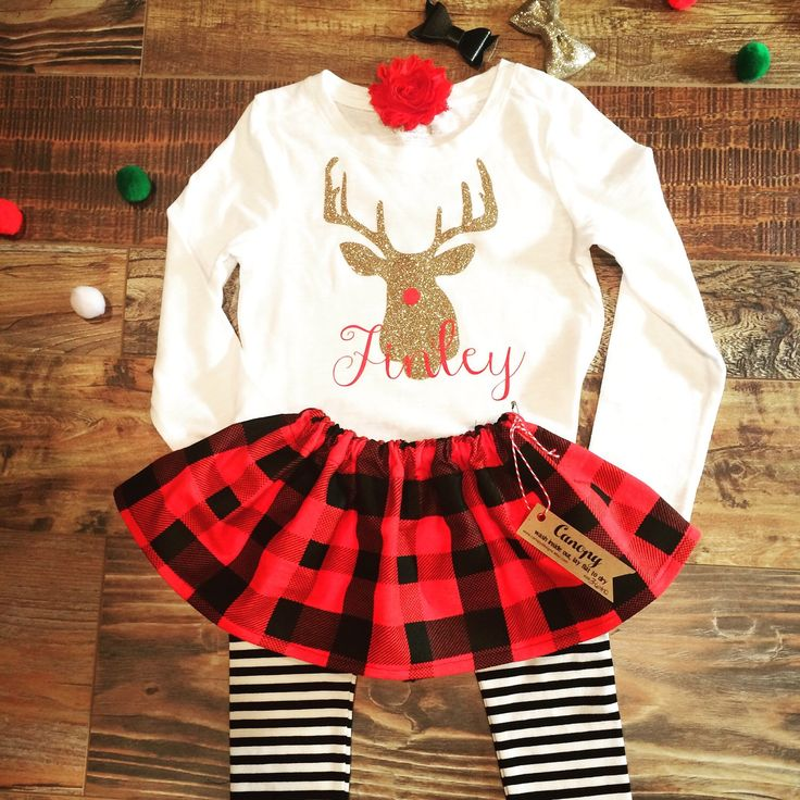 Baby Girl Buffalo Plaid Christmas Outfit- Girl Toddler Winter Outfit- Baby…
