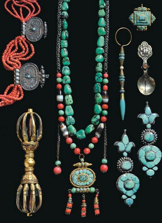Vintage and antique Tibetan jewelry, coral, turquoise, etc.