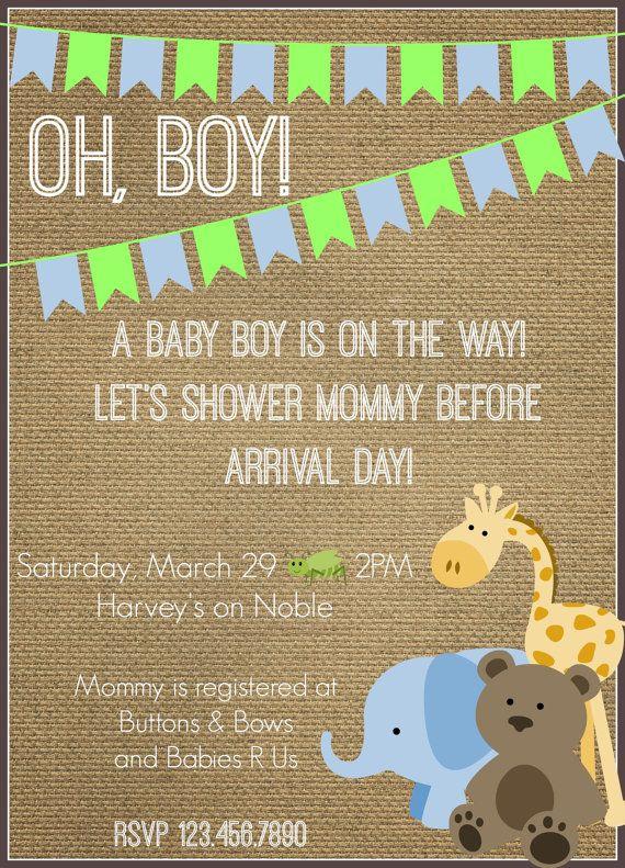Baby Boy Burlap Shower Invitation w/ Animals - green, blue banner w/ giraffe, elephant, and teddy bear - safari