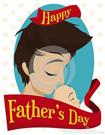 Young daddy giving a loving kiss at his baby with a greeting ribbon around commemorating Father's Day.