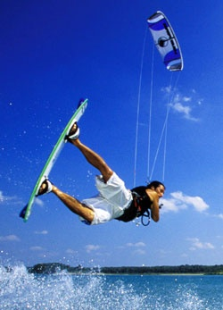 Pappy just got his kiteboard this month. I hope he brings it to Jersey when he comes so we can rock out on the ocean.