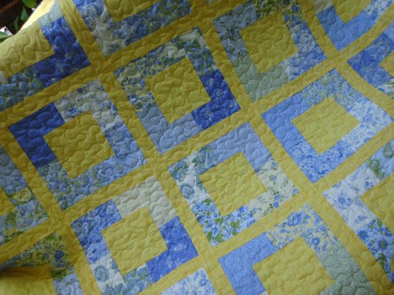 Bright yellow and blue blocks quilt by NannyGrans on Etsy