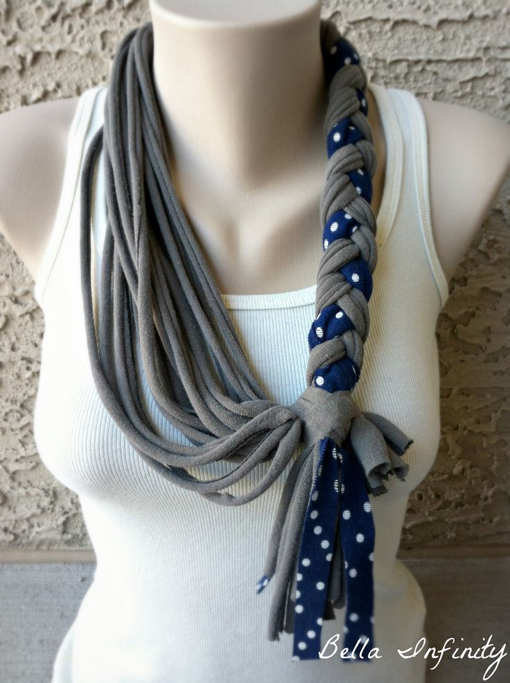 Bella Infinity Braided Scarf Jersey Fabric Grey UpCycled Tshirts Navy Polka Dot Colorful Chic Fun. $25.00, via Etsy.
