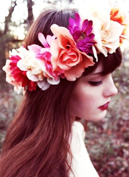 Boho bride's long down auburn bridal hair ideas Toni Kami Wedding Hairstyles ♥ ❶  wedding hairstyle with flower crown corona halo