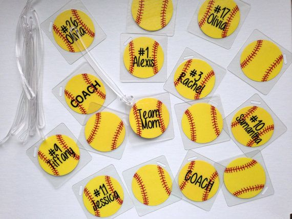 Softball Bag Tags Bulk Softball Gifts Softball Party Favors by Toddletags, $4.50