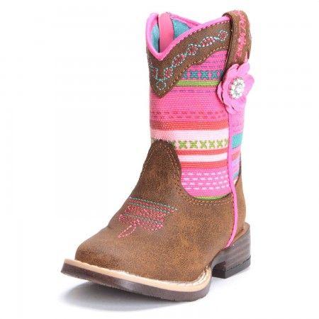 Blazin Roxx Toddler Girls Camilla Striped Flower Cowgirl Boots Brown