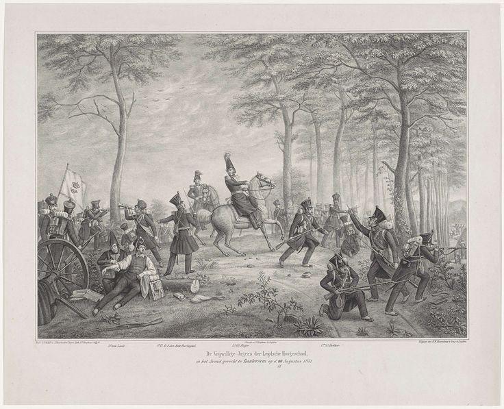 Johann Peter Berghaus   Gevecht bij Boutersem, 1831, Johann Peter Berghaus, 1831   De Compagnie Vrijwillige Jagers van de Hogeschool te Leiden bij Boutersem in gevecht in de avond van 11 augustus 1831. Centraal luitenant-generaal Meijer te paard, achter hem eerste luitenant D.J. den Beer Poortugael. Links wordt de gewonde jager (C. Leemans) verzorgd door Dr. van Leede, rechts de tirailleurs onder eerste luitenant Dekker. De namen van de voorgestelde personen staan in het onderschrift…