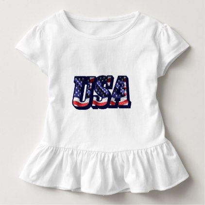 USA Flag Letters American Flag Toddler Ruffle Tee - toddler youngster infant child kid gift idea design diy