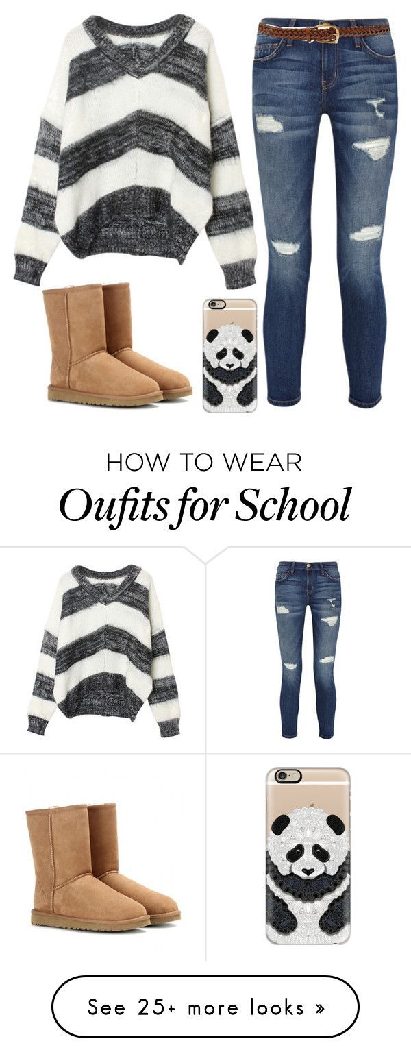"""""""Another school day"""" by psych-rocks on Polyvore featuring Current/Elliott, Gucci, UGG Australia and Casetify"""
